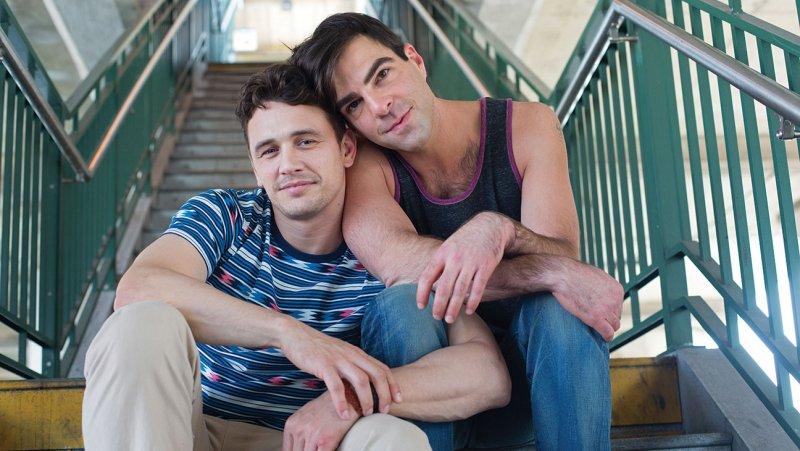на котором изображены Джеймс Франко и Закари Куинто в образе гей-пары.